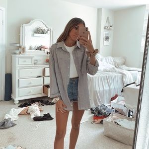 Tops - Oversized embellished button up